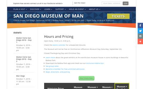 Screenshot of Pricing Page Hours Page museumofman.org - Hours & Pricing | San Diego Museum of Man Cost - captured Sept. 26, 2018