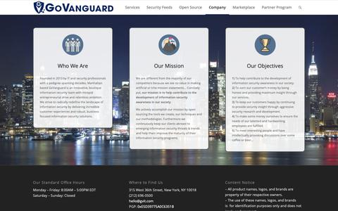 Screenshot of About Page govanguard.io - About - GoVanguard - captured Oct. 20, 2018