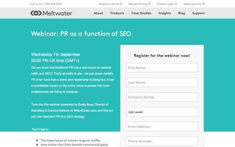 Screenshot of Landing Page meltwater.com - Webinar: PR as a function of SEO - captured Oct. 29, 2016