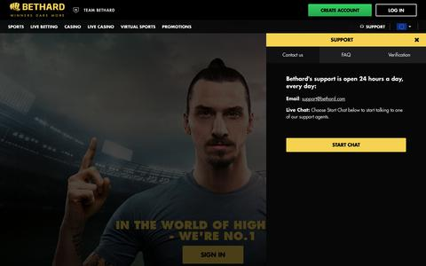 Screenshot of Support Page bethard.com - Sportsbook, Casino, Live Casino and Virtual Sports at Bethard - captured April 15, 2018