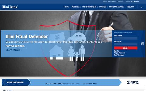 Screenshot of Home Page illinibank.com - Central Illinois Personal and Business Banking | Illini Bank - captured Aug. 4, 2015