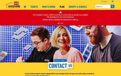 Screenshot of Contact Page legolanddiscoverycentre.ca - Contact LEGOLAND® Discovery Centre Toronto - captured Nov. 18, 2017