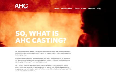 Screenshot of About Page alysonhorncasting.com - AHC, Alyson Horn Casting: About - captured Sept. 30, 2014