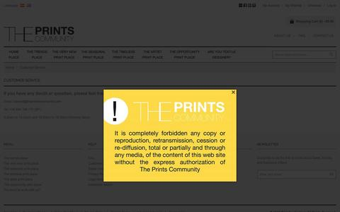 Screenshot of Support Page theprintscommunity.com - Customer Service The Prints Community - captured Aug. 15, 2016