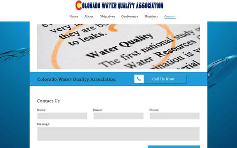 Screenshot of Contact Page cwqa.org - Contact the Colorado Water Quality Association - captured Sept. 28, 2018