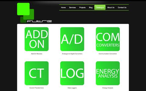 Screenshot of Products Page futre.co.za - Futre | Research & Development | Industrial Automation | Energy Management & Monitoring Solutions - product category - captured Feb. 10, 2016