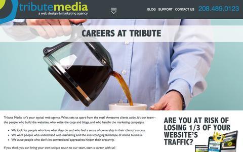 Screenshot of Jobs Page tributemedia.com - Careers at Tribute - captured Oct. 2, 2015