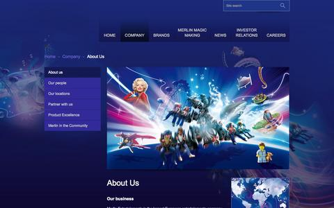 Screenshot of About Page merlinentertainments.biz - Merlin Entertainments | About Us - captured Sept. 24, 2014