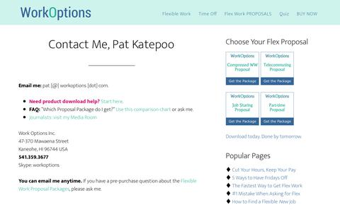 Screenshot of Contact Page workoptions.com - Contact Pat Katepoo of WorkOptions.com - captured March 20, 2018