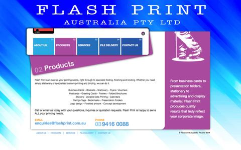 Screenshot of Products Page flashprint.com.au - Flash Print Australia - Products - captured Oct. 27, 2014