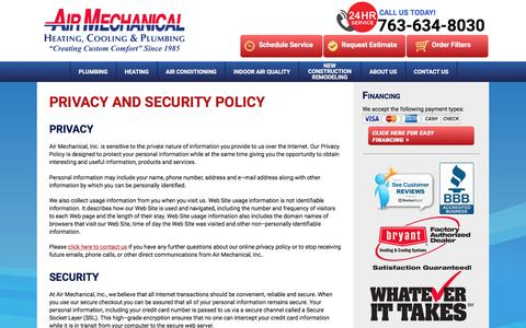Screenshot of Privacy Page airmechanical.com - Privacy Policy | Air Mechanical, Inc. - captured Feb. 5, 2016