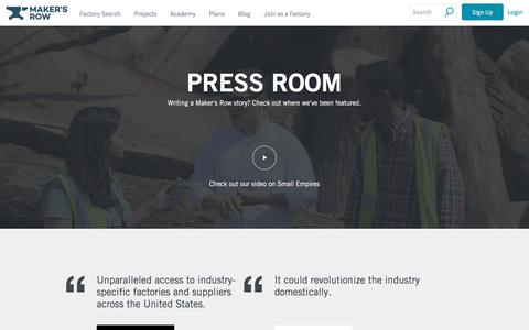 Screenshot of Press Page makersrow.com - Press | Maker's Row - captured July 23, 2019