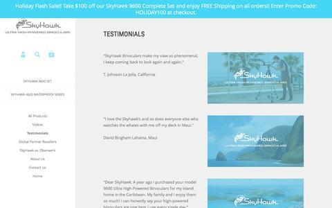 Screenshot of Testimonials Page skyhawkoptics.com - Skyhawk - Testimonials – SkyHawk Binoculars - captured Dec. 20, 2016