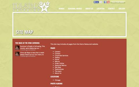 Screenshot of Site Map Page tristarcatering.com - Tri Star Catering » Site Map - captured Oct. 7, 2014