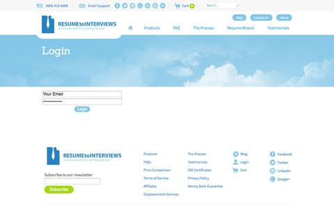 Screenshot of Login Page resumetointerviews.com - Login - Resume to Interviews - captured Sept. 22, 2014