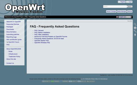 Screenshot of FAQ Page openwrt.org - OpenWrt Project: FAQ - Frequently Asked Questions - captured Sept. 21, 2018
