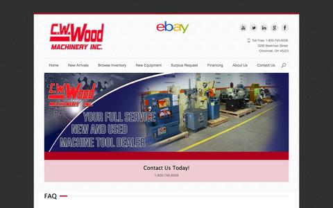 Screenshot of FAQ Page cwwood.com - FAQ - New & Used MachineryNew & Used Machinery - captured Oct. 1, 2014