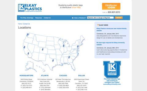 Screenshot of Contact Page Locations Page elkayplastics.com - Locations | Elkay Plastics - captured Oct. 22, 2014