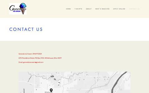 Screenshot of Contact Page generalsicecream.com - Contact Us — Generals Ice Cream - captured May 16, 2017