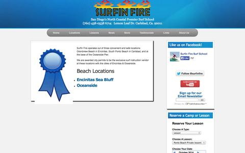 Screenshot of Locations Page surfinfire.com - Surf Lesson Locations North County Carlsbad Encinitas Oceanside Pier Safe Camp - captured Oct. 7, 2014