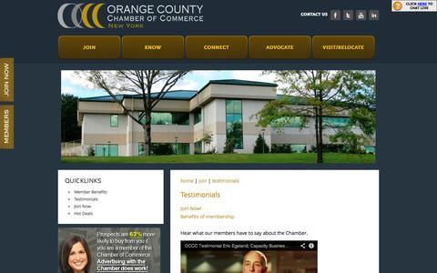 Screenshot of Testimonials Page orangeny.com - Testimonials | Orange County Chamber of Commerce | Montgomery, NY 12549 - Orange County Chamber of Commerce - captured Oct. 26, 2014