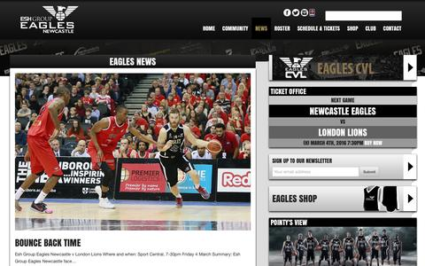 Screenshot of Press Page newcastle-eagles.com - News  |  Newcastle Eagles Basketball - captured March 4, 2016