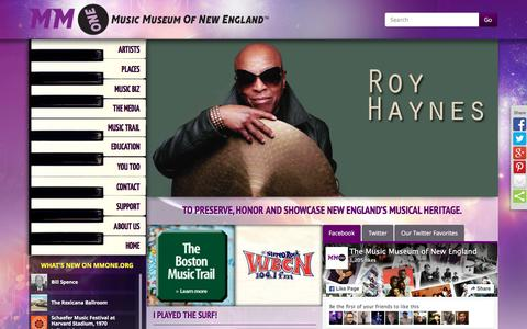 Screenshot of Home Page mmone.org - The Music Museum of New England - captured May 21, 2016