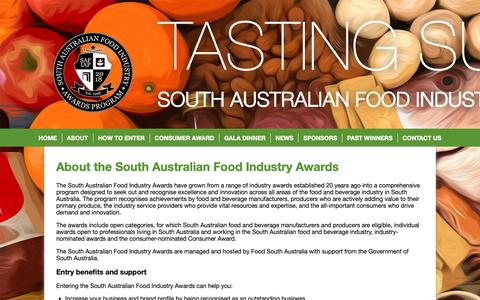 Screenshot of About Page safoodawards.com.au - About the South Australian Food Industry Awards | South Australian Food Industry Awards Program - captured Oct. 22, 2018