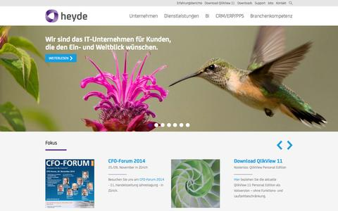 Screenshot of Home Page heyde.ch - Homepage | Heyde (Schweiz) AG - captured Oct. 3, 2014