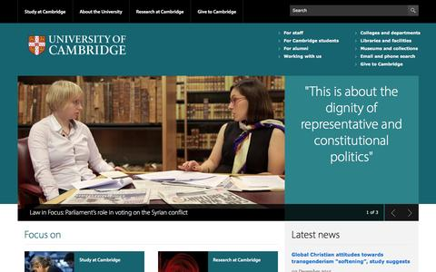 Screenshot of Home Page cam.ac.uk - University of Cambridge - captured Dec. 2, 2015