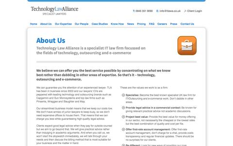 Screenshot of About Page technologylawalliance.co.uk - About        Technology Law Alliance: IT Law, E-commerce Law & Outsourcing Law Specialists - captured Oct. 1, 2014
