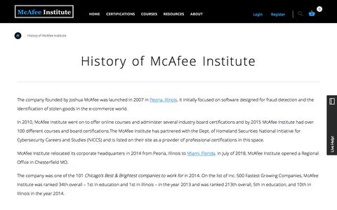 History of McAfee Institute | McAfee Institute