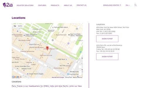 Screenshot of Locations Page a2ia.com - Locations | A2iA - captured Nov. 19, 2016
