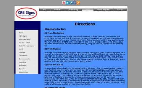 Screenshot of Maps & Directions Page cab-signs.com - Directions to Cab - captured Jan. 23, 2016