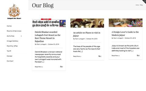 Screenshot of Blog lohagarhfortresort.in - Blog - Luxury Lohagarh Fort Resort - captured June 27, 2017