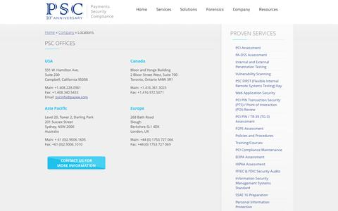 Screenshot of Locations Page paysw.com - Payment and Security Experts    Locations    PSC - captured Nov. 1, 2014