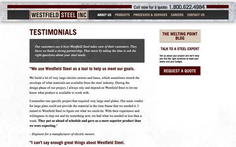 Screenshot of Testimonials Page westfieldsteel.com - Testimonials - Westfield Steel - captured Nov. 29, 2016