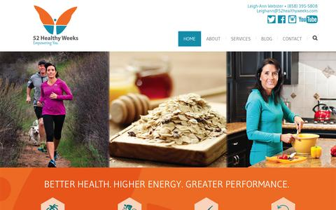 Screenshot of Home Page 52healthyweeks.com - 52 Healthy Weeks | Empowering You - captured June 17, 2015