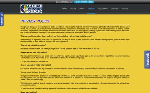 Screenshot of Privacy Page globalmissionforchildren.org - Privacy Policy – Global Mission for Children - captured Dec. 10, 2015