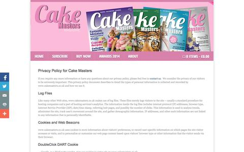 Screenshot of Privacy Page cakemasters.co.uk - Privacy Policy Cake Masters Magazine - captured Oct. 1, 2014