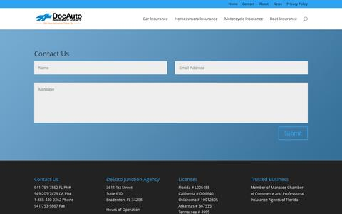 Screenshot of Contact Page docins.com - Contact   Doc Auto Insurance - captured Sept. 25, 2015