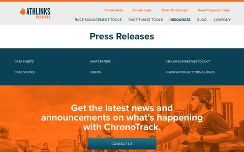 Screenshot of Press Page athlinks.com - ChronoTrack News Announcements and Updates - Athlinks Services - captured July 17, 2018