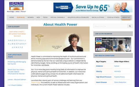 Screenshot of About Page healthpowerforminorities.com - About Health Power | Health Power - captured July 12, 2016
