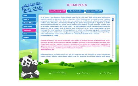 Screenshot of Testimonials Page babiesfirstclass.com captured Sept. 30, 2014