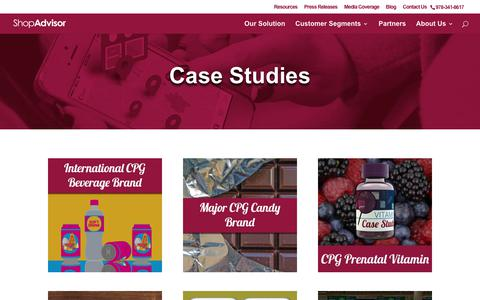 Screenshot of Case Studies Page shopadvisor.com - Case Studies - ShopAdvisor - captured July 13, 2018