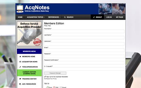 Screenshot of Signup Page acqnotes.com - Members Edition - AcqNotes - captured Oct. 7, 2017