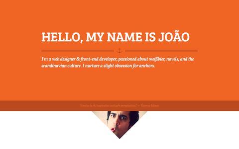 Screenshot of Home Page joao.pt - João is a web designer and front-end developer - captured Oct. 6, 2014