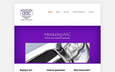 Screenshot of Home Page albuquerqueautocerts.com - AAC | Independent Car Inspections Auto Certification Albuquerque, New Mexico | - captured Oct. 4, 2014