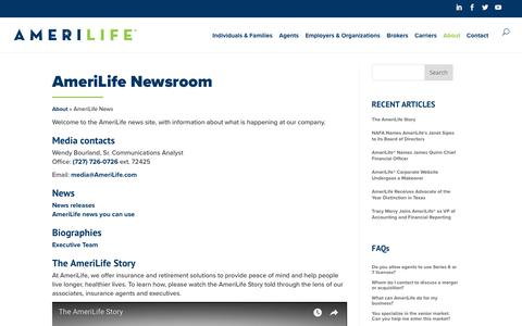 Screenshot of Press Page amerilife.com - AmeriLife Newsroom Media Contacts - captured Feb. 27, 2018