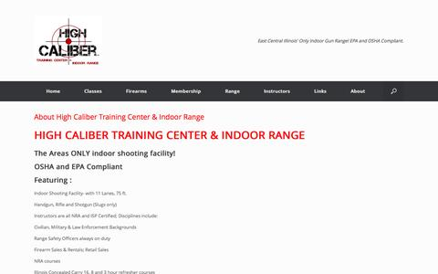 Screenshot of About Page highcalibertrainingcenter.com - About | High Caliber Training Center & Indoor Range - captured Oct. 3, 2014